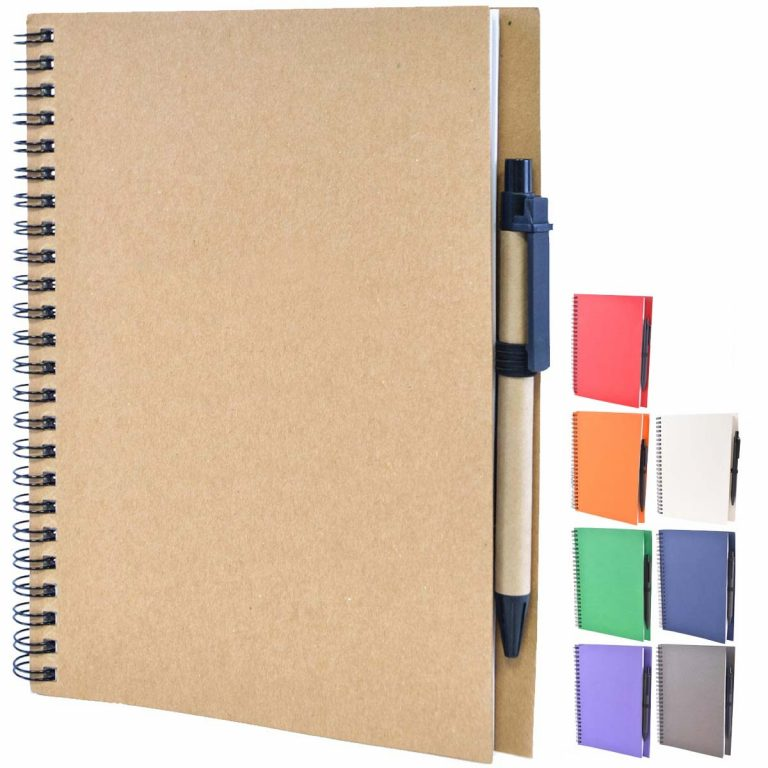 Intimo Recycled Branded Notebooks available in 8 colours from Eco Promos