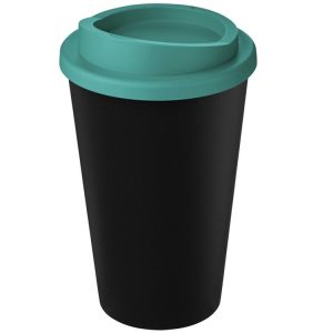 Image showing Americano Branded Recycled Coffee Cup from Eco Promos in Black/Aqua