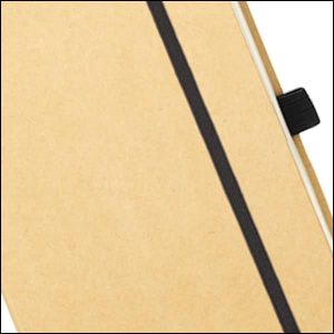 Image showing elastic strap and pen loop details on Broadstairs Branded Recycled Notebooks from Eco Promos