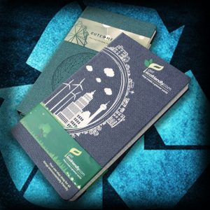 Eco branded notebooks from Ecopromos.