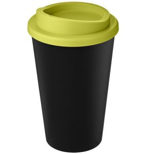 Image showing Americano Recycled Branded Coffee Cup from Eco Promos in Black/Lime