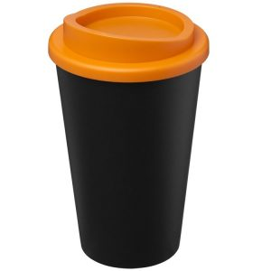 Image showing Americano Recycled Branded Coffee Cup from Eco Promos in Black/Orange