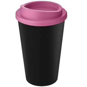 Image showing Americano Recycled Branded Coffee Cup from Eco Promos in Black/Pink