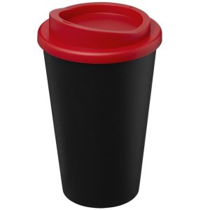 Image showing Americano Recycled Branded Coffee Cup from Eco Promos in Black/Red