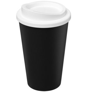 Image showing Americano Recycled Branded Coffee Cup from Eco Promos in Black/White