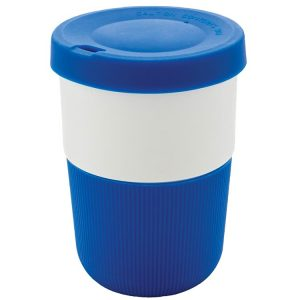 Image showing 380ml Eco Friendly Coffee Cups from Eco Promos, available in Blue/White