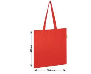 Image showing the dimensions of the Seabrook Branded Recycled Tote bags from Eco Promos