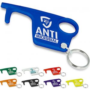 Group Image of Antimicrobial Branded Recycled Hygiene Hook Keyring from Eco Promos