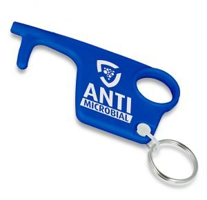 Blue Antimicrobial Branded Recycled Hygiene Hook Keyring from Eco Promos