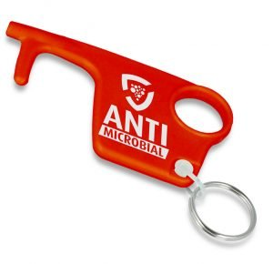 Red Antimicrobial Branded Recycled Hygiene Hook Keyring from Eco Promos