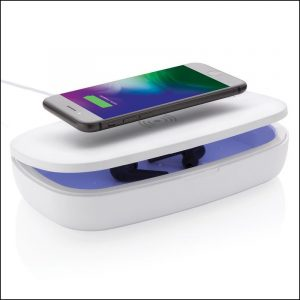 Image showing phone being charged on top of the branded steriliser box. Great eco friendly promotional products from Eco Promos.