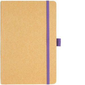 Image Showing Natural/Purple Notebook available for Broadstairs Eco Recycled Branded Notebooks from Eco Promos