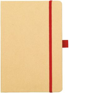 Image Showing Natural/Red Notebook available for Broadstairs Eco Recycled Branded Notebooks from Eco Promos