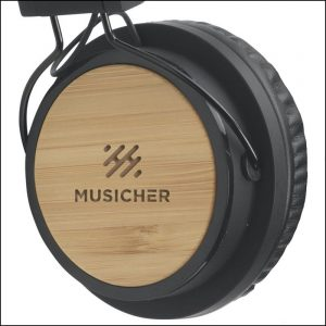 Engraved Bamboo Branded Headphones from Ecopromos