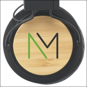 Spot Printed Bamboo Branded Headphones from Ecopromos