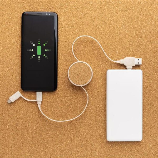 Eco Promotional Charging Cable charging a phone from a Powerbank