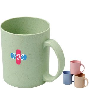 Pecos 350ml Wheat Straw branded mugs available in 4 colours from Eco Promos.