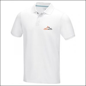 Printed Logo on L/B of Graphite Eco Custom Polo Shirt by Eco Promos